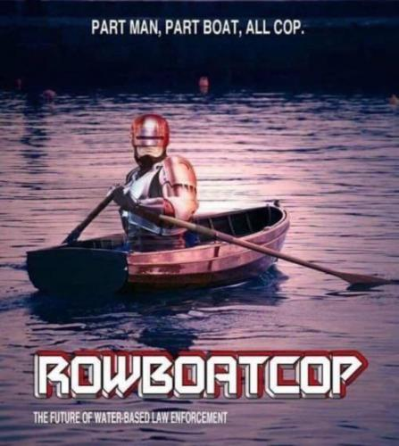 Funny Science Fiction Rowboat Cop